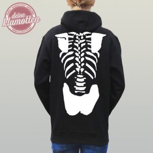 Damen Fun Hoodie Skelett Knochen Halloween Horror