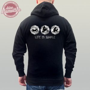 Fun Hoodie Life Is Simple Chillen Motocross und Lieben