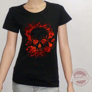 Damen Fun Shirt Lava Totenkopf Skull Metal Rock