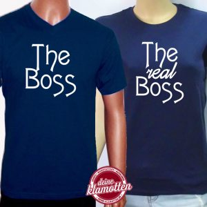 2er Set Fun Shirts fuer verliebte Paare The Boss The real Boss Liebe Partnerschaft Familie