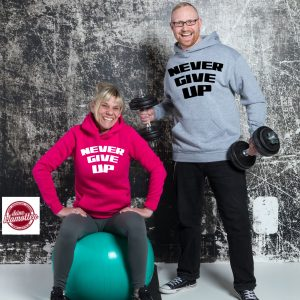 Damen Fun Hoodie NEVER GIVE UP Fitness Sport Gym Training