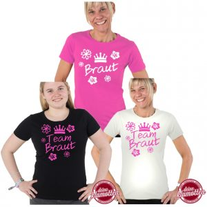 Team Braut Krone Damen Fun Shirt Fruit of the Loom Junggesellenabschied Party Hochzeit