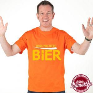 Herren Rundhals Fun Shirt WISH YOU WERE BIER Spaß Vatertag Junggesellenabschied