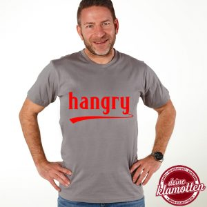 Herren Rundhals Fun Shirt Hangry Party Style Vatertag Junggesellenabschied