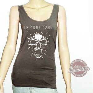 Damen Fun Tanktop In Your Face Festival Rock Metal Skull Totenkopf