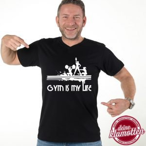 Herren V-Neck Fun Shirt Gym is my Life Fitness Sport Gym Training