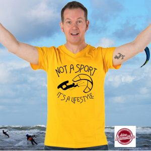 Herren V-Neck Fun Shirt Not a Sport it´s a lifestyle Wassersport Strand Beach Kitesurfen Kiteboarden